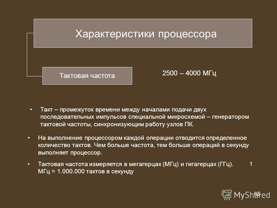 65 из 20 65 Характеристики процессора Тактовая частота 2500 – 4000 МГц Такт – промежуток времени между началами подачи двух последовательных импульсов специальной микросхемой – генератором тактовой частоты, синхронизующим работу узлов ПК. На выполнен