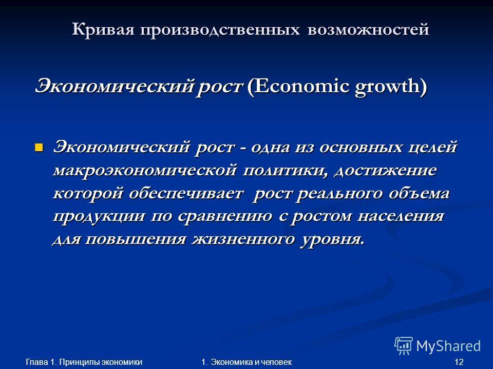 Глава 1. Принципы экономики 111. Экономика и человек Кривая производственных возможностей Факторы, влияющие на экономический потенциал: Факторы, влияющие на экономический потенциал: Неполное использование экономического потенциала. Неполное использов
