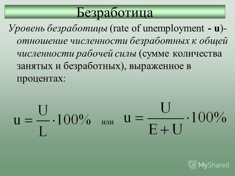 Уровень безработицы (rate of unemployment - u)- отношение численности безработных к общей численности рабочей силы (сумме количества занятых и безработных), выраженное в процентах: Безработица или