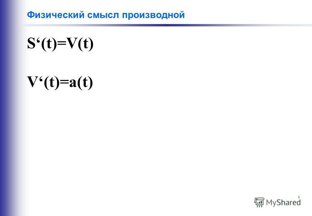 9 Физический смысл производной S(t)=V(t) V(t)=a(t)