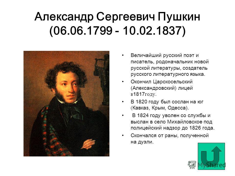 Александр Сергеевич Пушкин (06.06.1799 - 10.02.1837) Величайший русский поэт и писатель, родоначальник новой русской литературы, создатель русского литературного языка. Окончил Царскосельский (Александровский) лицей в 1817 году. В 1820 году был сосла