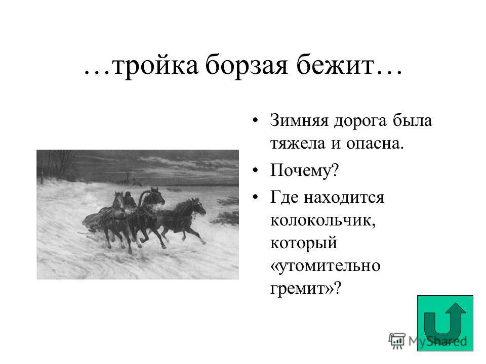 …тройка борзая бежит… Зимняя дорога была тяжела и опасна. Почему? Где находится колокольчик, который «утомительно гремит»?