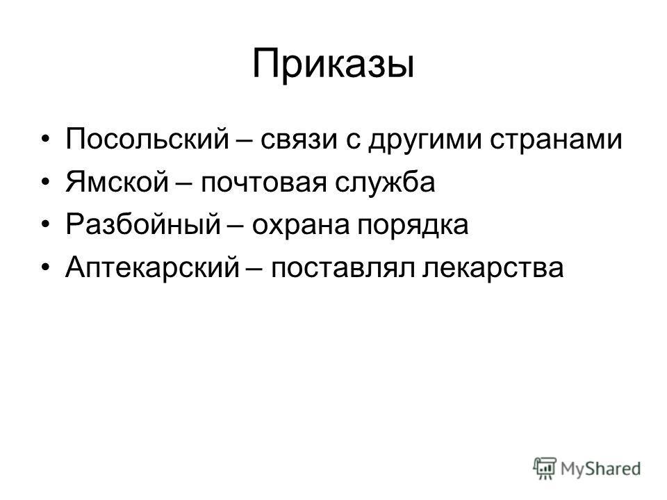 Приказы Посольский – связи с другими странами Ямской – почтовая служба Разбойный – охрана порядка Аптекарский – поставлял лекарства