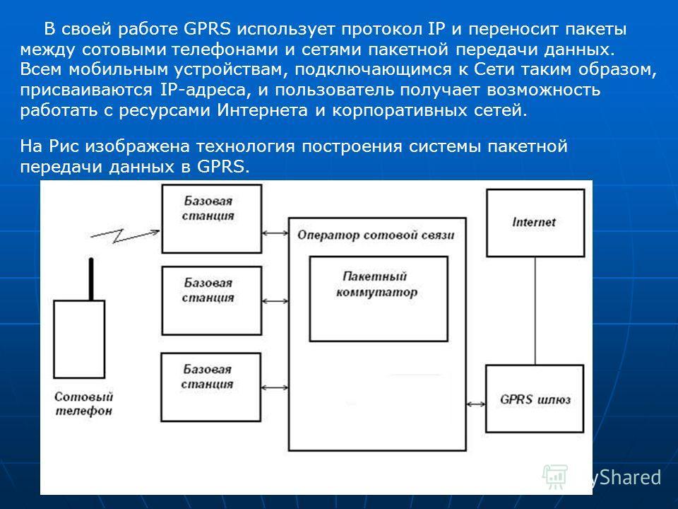 На Рис изображена технология построения системы пакетной передачи данных в GPRS. В своей работе GPRS использует протокол IP и переносит пакеты между сотовыми телефонами и сетями пакетной передачи данных. Всем мобильным устройствам, подключающимся к С