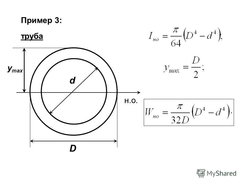 Пример 3: труба н.о. D d y max