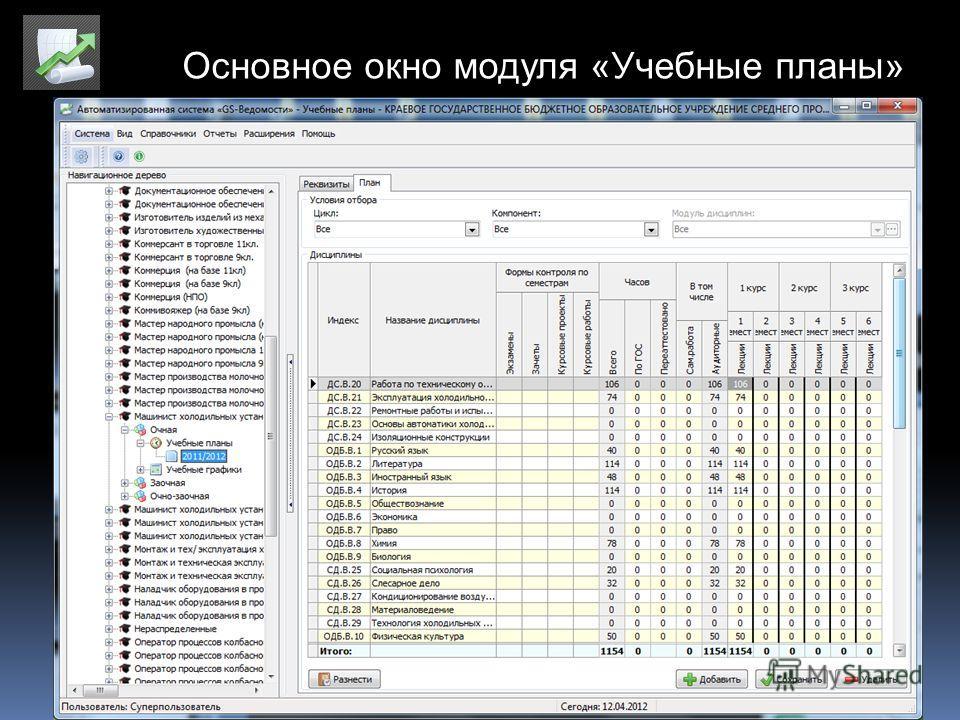 Основное окно модуля «Учебные планы»