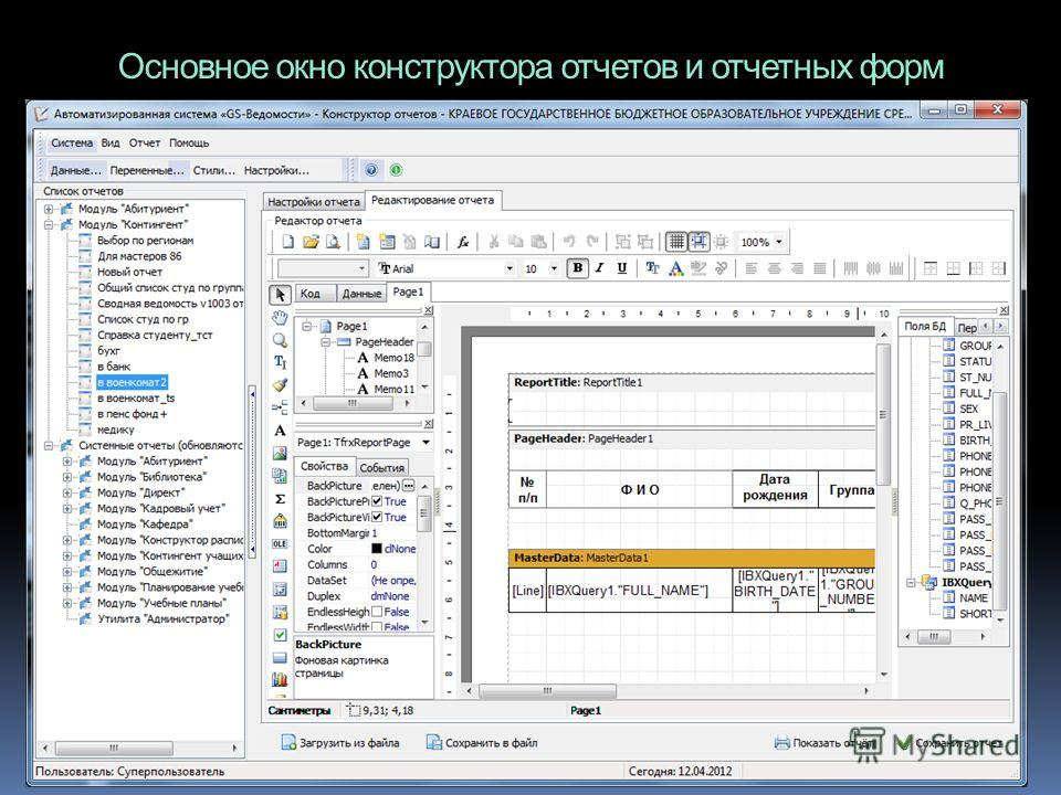 Основное окно конструктора отчетов и отчетных форм