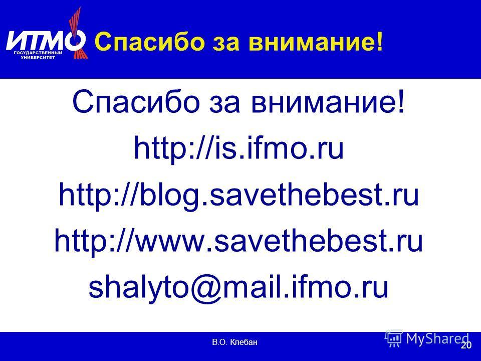 20 В.О. Клебан Спасибо за внимание! http://is.ifmo.ru http://blog.savethebest.ru http://www.savethebest.ru shalyto@mail.ifmo.ru