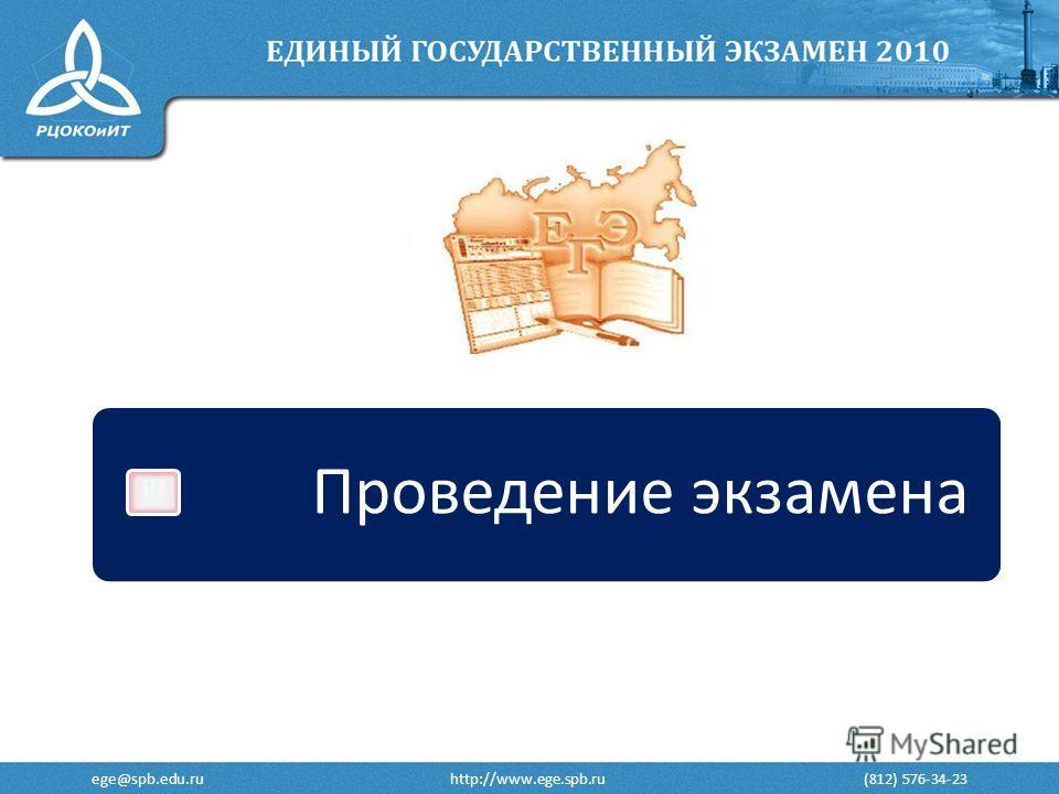 ege@spb.edu.ru http://www.ege.spb.ru (812) 576-34-23 Проведение экзамена