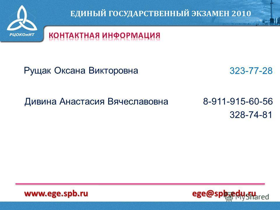 Рущак Оксана Викторовна 323-77-28 8-911-915-60-56 328-74-81 Дивина Анастасия Вячеславовна www.ege.spb.ruege@spb.edu.ru