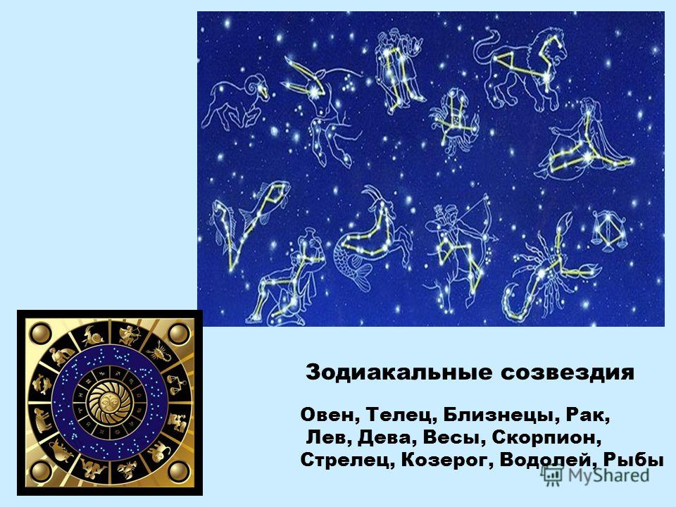 Овен, Телец, Близнецы, Рак, Лев, Дева, Весы, Скорпион, Стрелец, Козерог, Водолей, Рыбы Зодиакальные созвездия