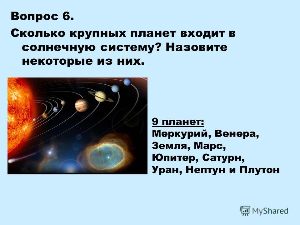 Вопрос 6. Сколько крупных планет входит в солнечную систему? Назовите некоторые из них. 9 планет: Меркурий, Венера, Земля, Марс, Юпитер, Сатурн, Уран, Нептун и Плутон