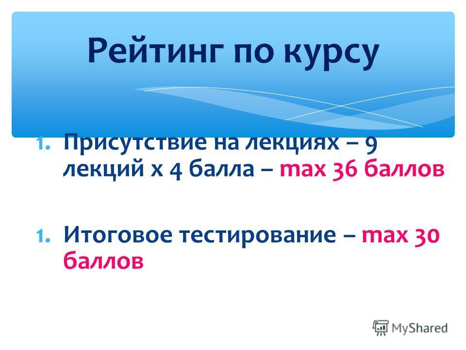 1.Присутствие на лекциях – 9 лекций x 4 балла – max 36 баллов 1.Итоговое тестирование – max 30 баллов Рейтинг по курсу