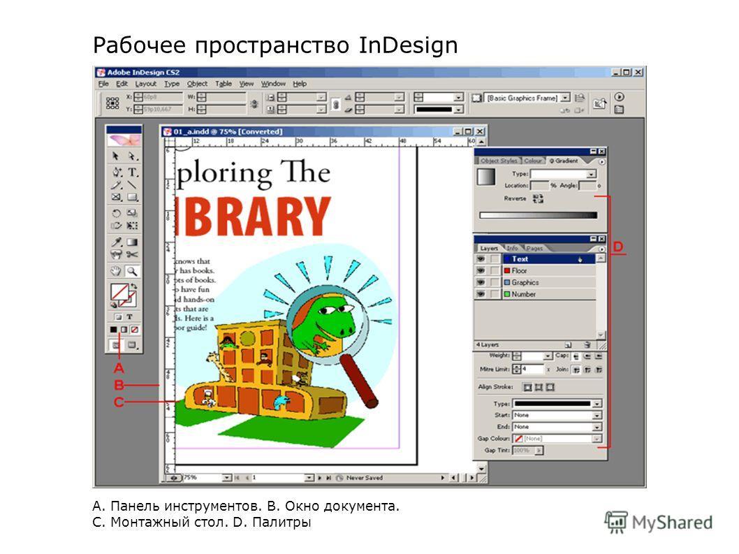 А. Панель инструментов. В. Окно документа. С. Монтажный стол. D. Палитры Рабочее пространство InDesign
