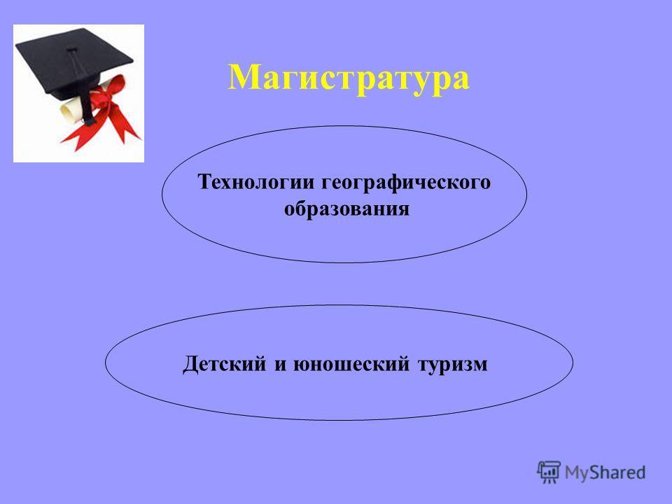 Магистратура Технологии географического образования Детский и юношеский туризм