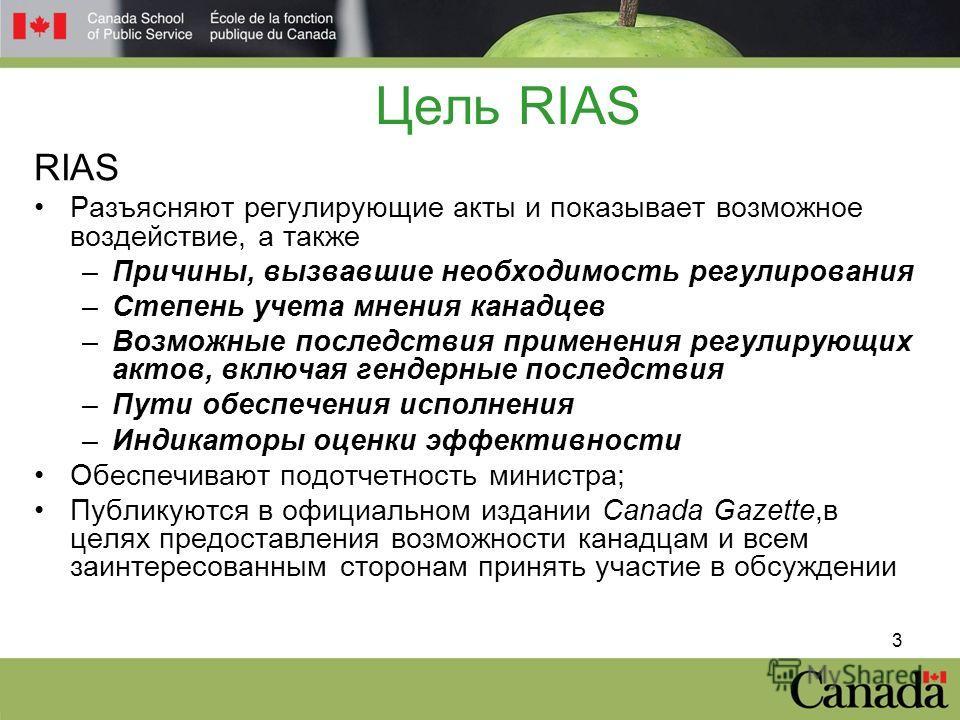 3 Цель RIAS RIAS Разъясняют регулирующие акты и показывает возможное воздействие, а также –Причины, вызвавшие необходимость регулирования –Степень учета мнения канадцев –Возможные последствия применения регулирующих актов, включая гендерные последств