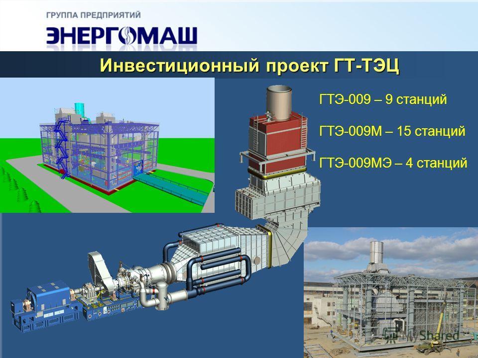Инвестиционный проект ГТ-ТЭЦ ГТЭ-009 – 9 станций ГТЭ-009М – 15 станций ГТЭ-009МЭ – 4 станций