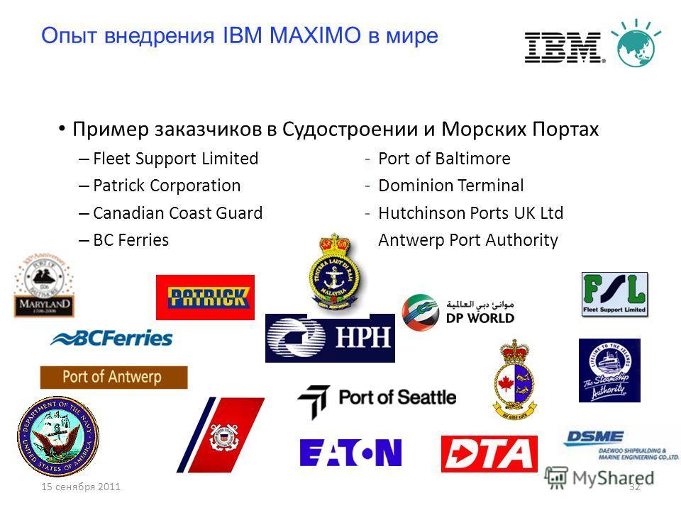 15 сенября 201132 Опыт внедрения IBM MAXIMO в мире Пример заказчиков в Судостроении и Морских Портах – Fleet Support Limited-Port of Baltimore – Patrick Corporation-Dominion Terminal – Canadian Coast Guard-Hutchinson Ports UK Ltd – BC Ferries-Antwerp