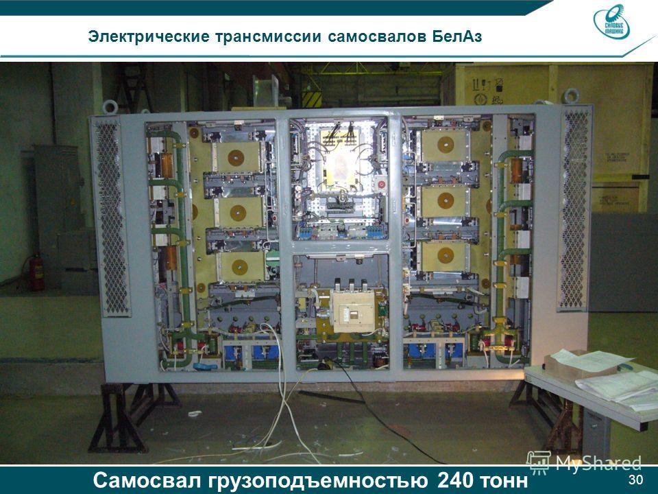 30 Электрические трансмиссии самосвалов БелАз Самосвал грузоподъемностью 240 тонн