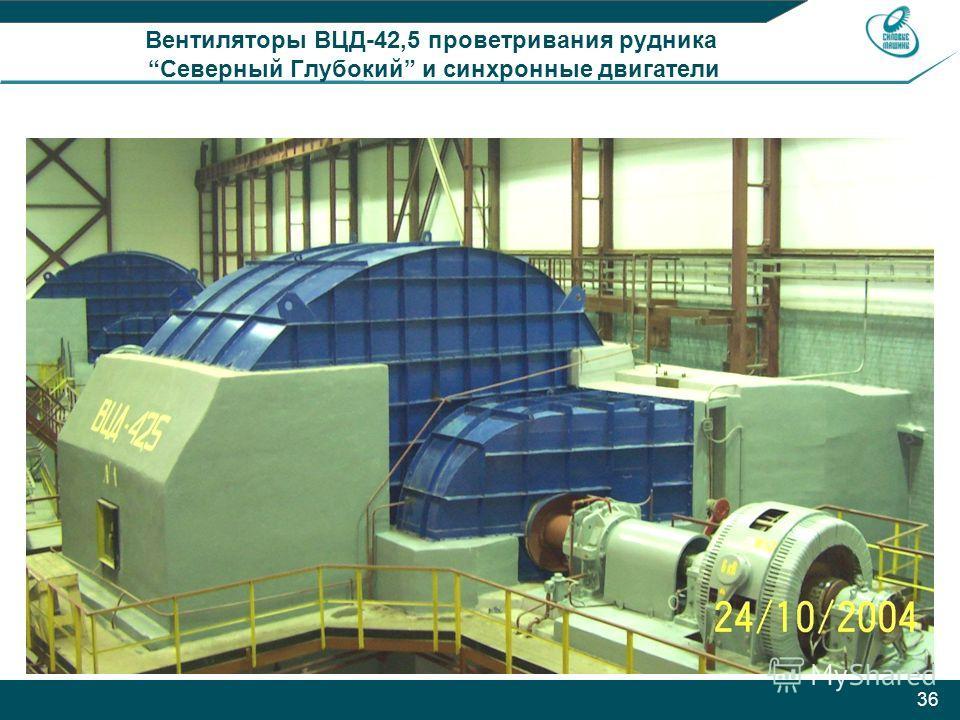 36 Вентиляторы ВЦД-42,5 проветривания рудника Северный Глубокий и синхронные двигатели