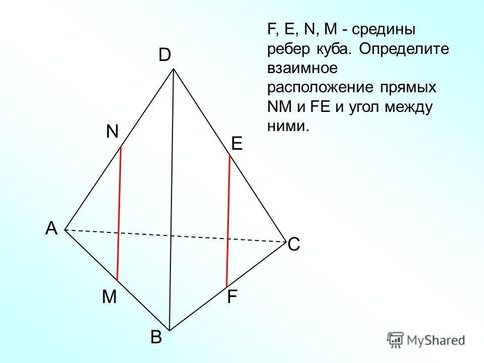 А В С D N M E F F, Е, N, M - средины ребер куба. Определите взаимное расположение прямых NM и FЕ и угол между ними.
