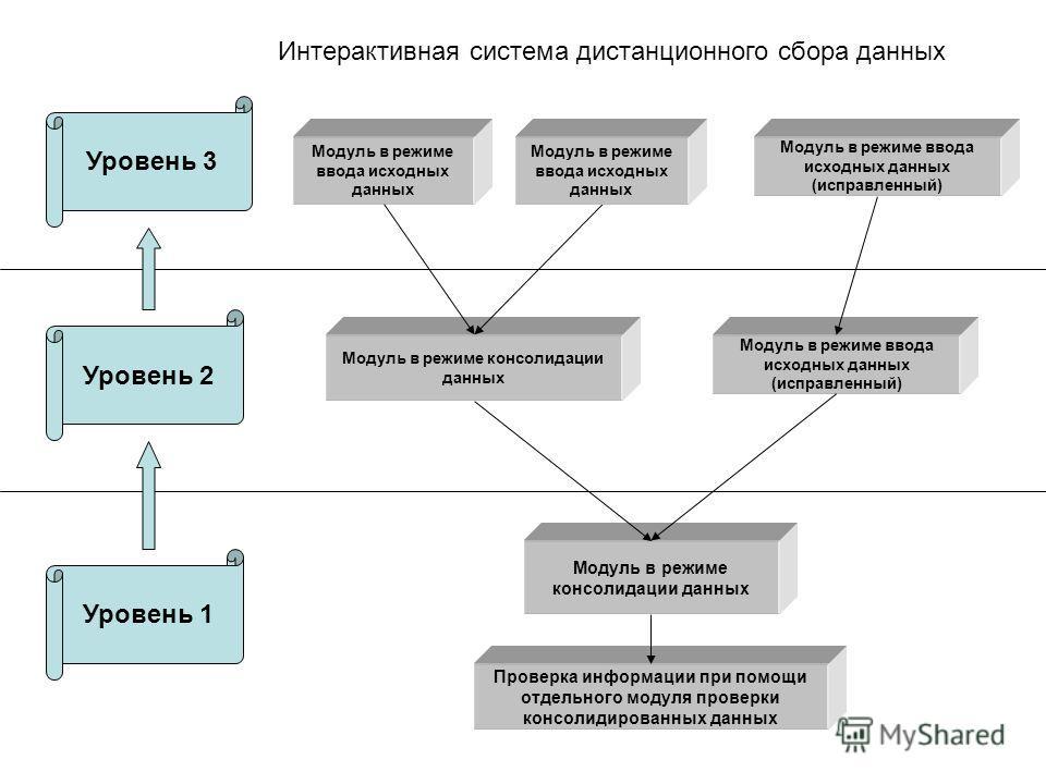 Модуль в режиме ввода исходных данных (исправленный) Модуль в режиме консолидации данных Проверка информации при помощи отдельного модуля проверки консолидированных данных Уровень 3 Уровень 2 Уровень 1 Модуль в режиме ввода исходных данных Интерактив