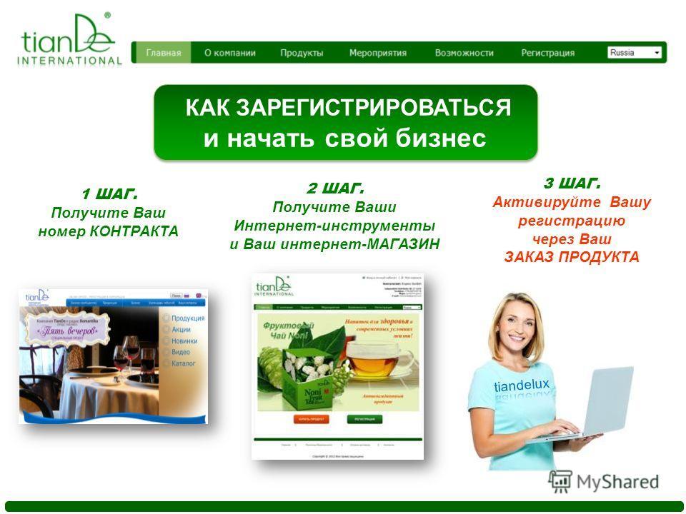 КАК ЗАРЕГИСТРИРОВАТЬСЯ и начать свой бизнес 1 ШАГ. Получите Ваш номер КОНТРАКТА 2 ШАГ. Получите Ваши Интернет-инструменты и Ваш интернет-МАГАЗИН 3 ШАГ. Активируйте Вашу регистрацию через Ваш ЗАКАЗ ПРОДУКТА
