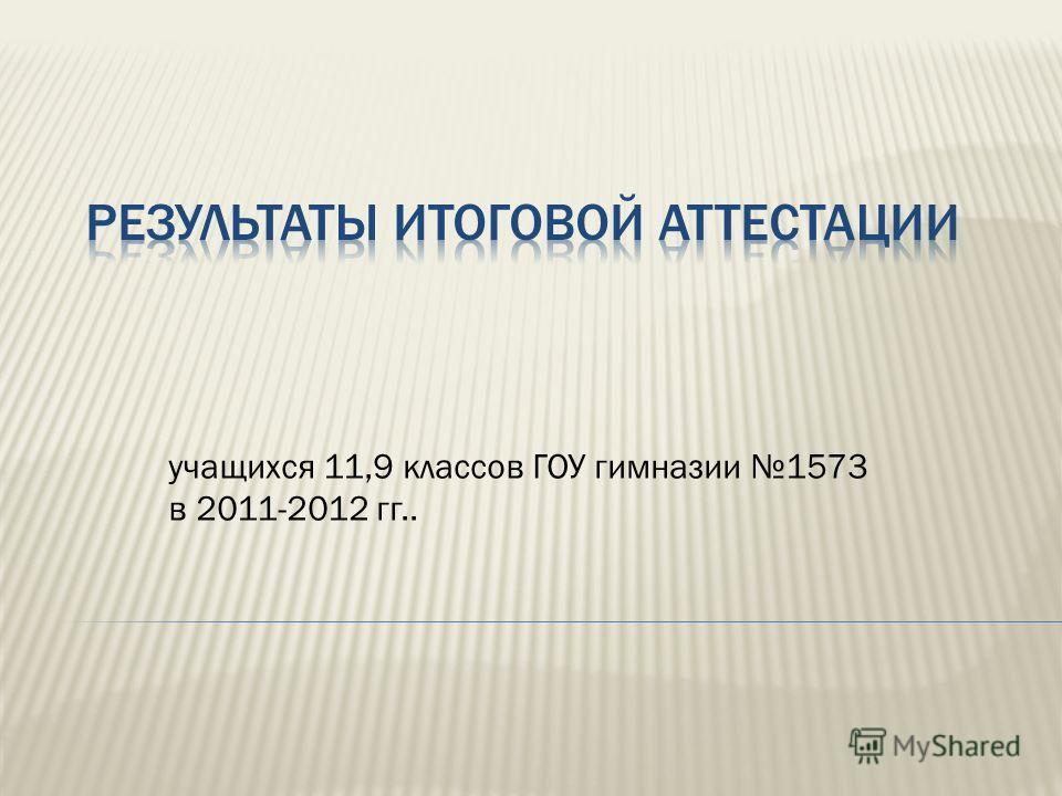 учащихся 11,9 классов ГОУ гимназии 1573 в 2011-2012 гг..
