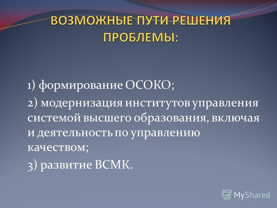 1) формирование ОСОКО; 2) модернизация институтов управления системой высшего образования, включая и деятельность по управлению качеством; 3) развитие ВСМК.