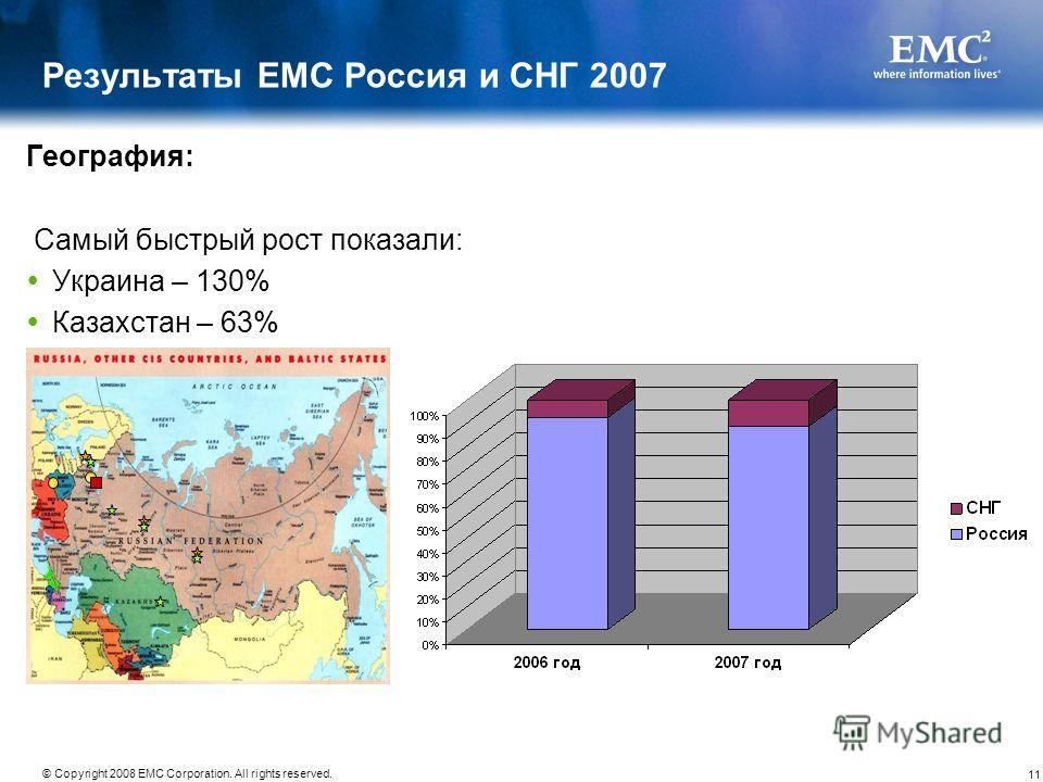 11 © Copyright 2008 EMC Corporation. All rights reserved. Результаты EMC Россия и СНГ 2007 География: Самый быстрый рост показали: Украина – 130% Казахстан – 63%