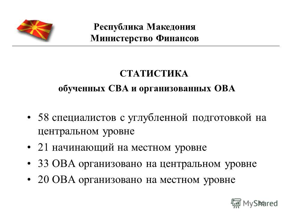 16 СТАТИСТИКА обученных СВА и организованных ОВА 58 специалистов с углубленной подготовкой на центральном уровне 21 начинающий на местном уровне 33 ОВА организовано на центральном уровне 20 ОВА организовано на местном уровне Республика Македония Мини
