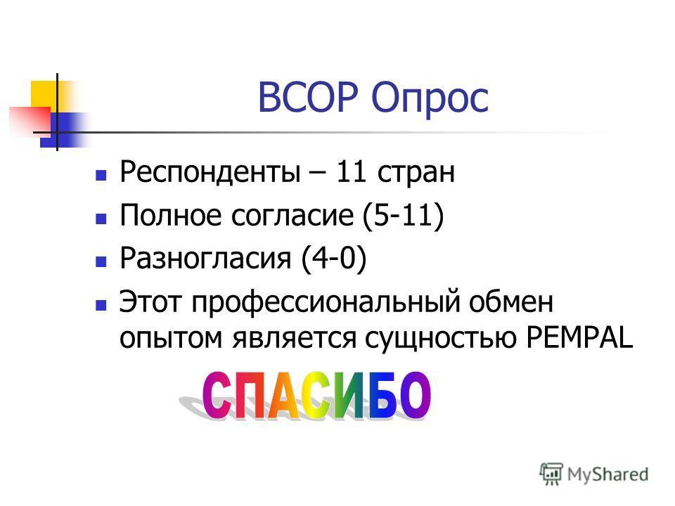 BCOP Опрос Респонденты – 11 стран Полное согласие (5-11) Разногласия (4-0) Этот профессиональный обмен опытом является сущностью PEMPAL