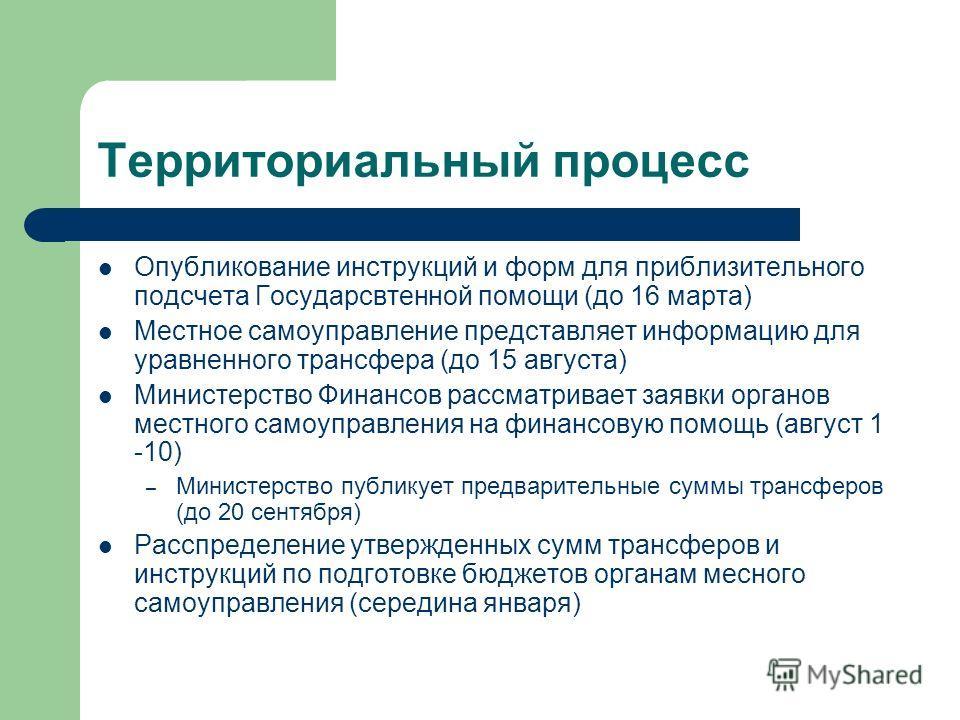 Территориальный процесс Опубликование инструкций и форм для приблизительного подсчета Государсвтенной помощи (до 16 марта) Местное самоуправление представляет информацию для уравненного трансфера (до 15 августа) Министерство Финансов рассматривает за