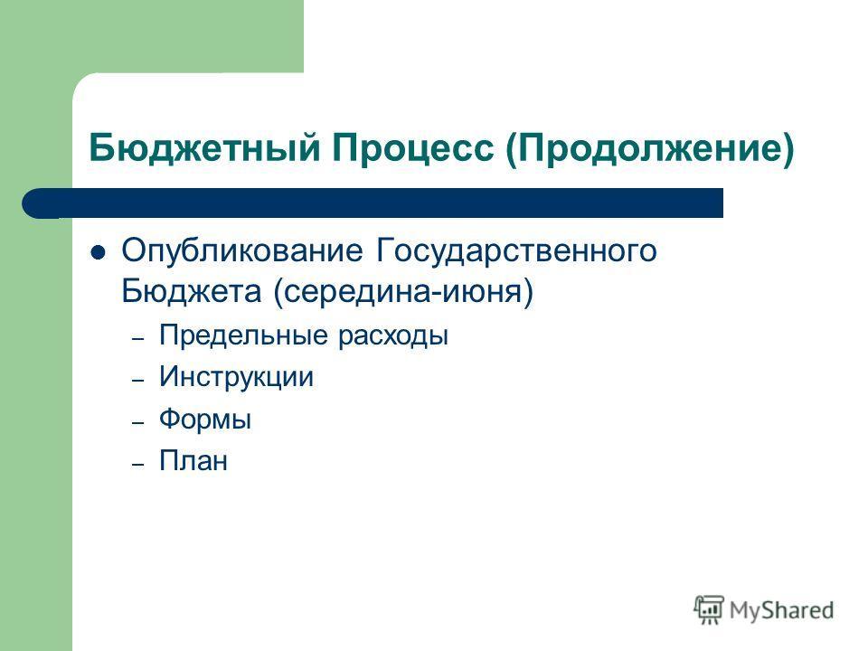 Бюджетный Процесс (Продолжение) Опубликование Государственного Бюджета (середина-июня) – Предельные расходы – Инструкции – Формы – План