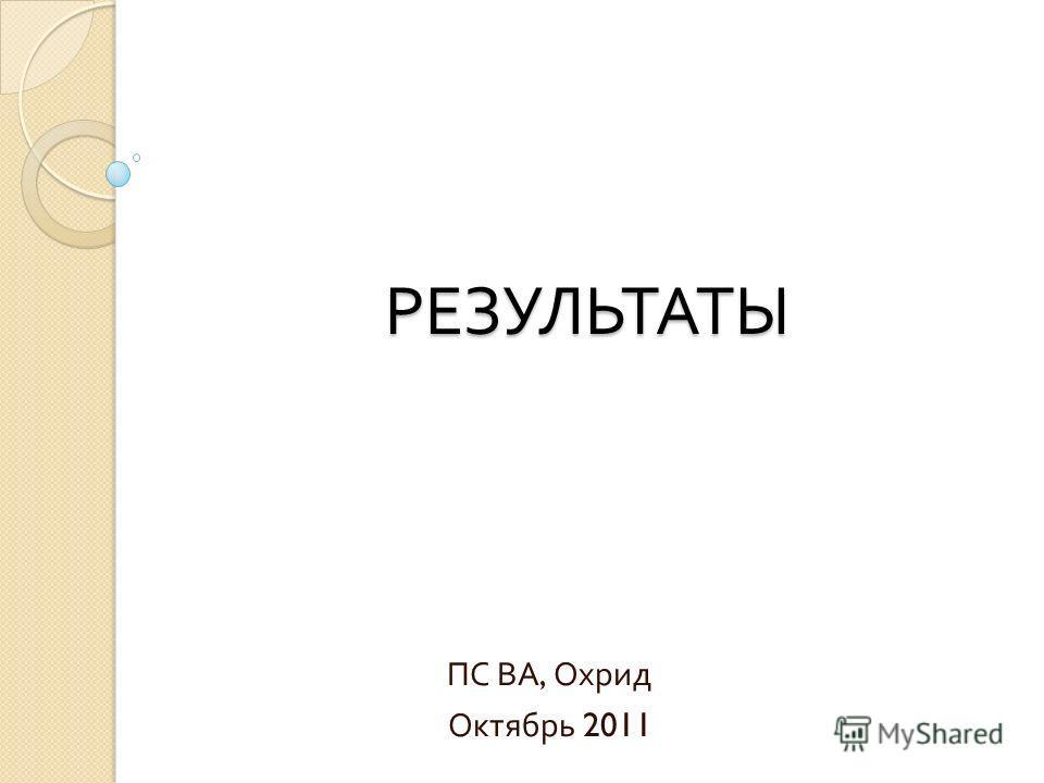РЕЗУЛЬТАТЫ ПС ВА, Охрид Октябрь 2011