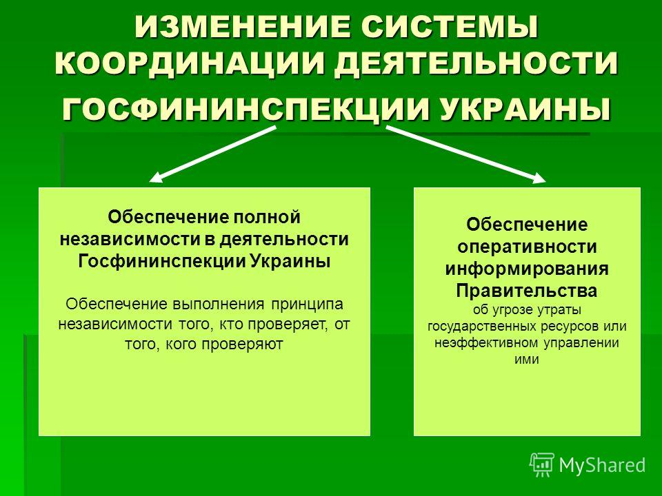 ИЗМЕНЕНИЕ СИСТЕМЫ КООРДИНАЦИИ ДЕЯТЕЛЬНОСТИ ГОСФИНИНСПЕКЦИИ УКРАИНЫ Обеспечение полной независимости в деятельности Госфининспекции Украины Обеспечение выполнения принципа независимости того, кто проверяет, от того, кого проверяют Обеспечение оператив