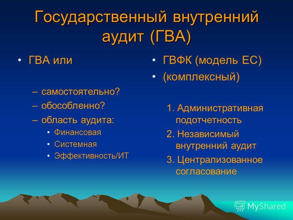 Государственный внутренний аудит (ГВА) ГВА или –самостоятельно? –обособленно? –область аудита: Финансовая Системная Эффективность/ИТ ГВФК (модель ЕС) (комплексный) 1. Административная подотчетность 2. Независимый внутренний аудит 3. Централизованное