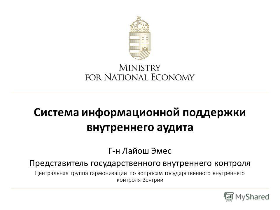 Система информационной поддержки внутреннего аудита Г-н Лайош Эмес Представитель государственного внутреннего контроля Центральная группа гармонизации по вопросам государственного внутреннего контроля Венгрии
