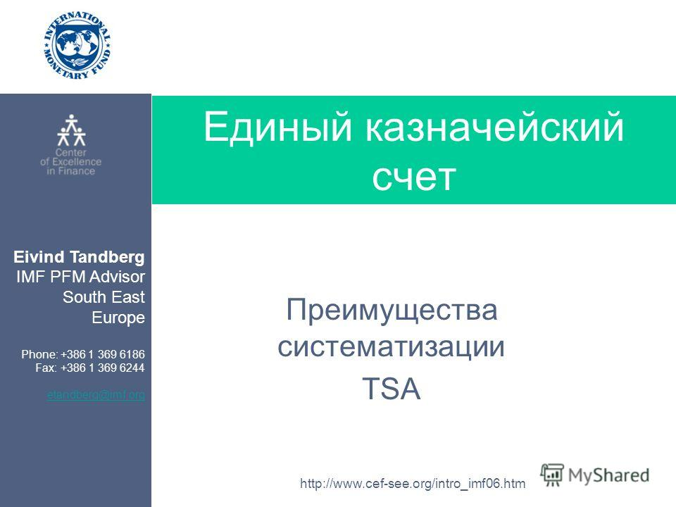 Eivind Tandberg IMF PFM Advisor South East Europe Phone: +386 1 369 6186 Fax: +386 1 369 6244 etandberg@imf.org http://www.cef-see.org/intro_imf06.htm Единый казначейский счет Преимущества систематизации TSA