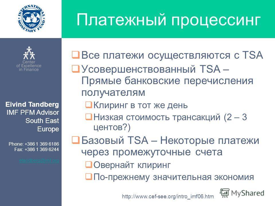 Eivind Tandberg IMF PFM Advisor South East Europe Phone: +386 1 369 6186 Fax: +386 1 369 6244 etandberg@imf.org http://www.cef-see.org/intro_imf06.htm Платежный процессинг Все платежи осуществляются с TSA Усовершенствованный TSA – Прямые банковские п