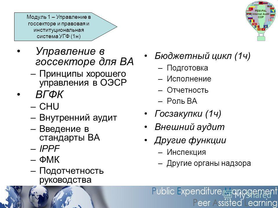 Управление в госсекторе для ВА –Принципы хорошего управления в ОЭСР ВГФК –CHU –Внутренний аудит –Введение в стандарты ВА –IPPF –ФМК –Подотчетность руководства Бюджетный цикл (1ч) –Подготовка –Исполнение –Отчетность –Роль ВА Госзакупки (1ч) Внешний ау