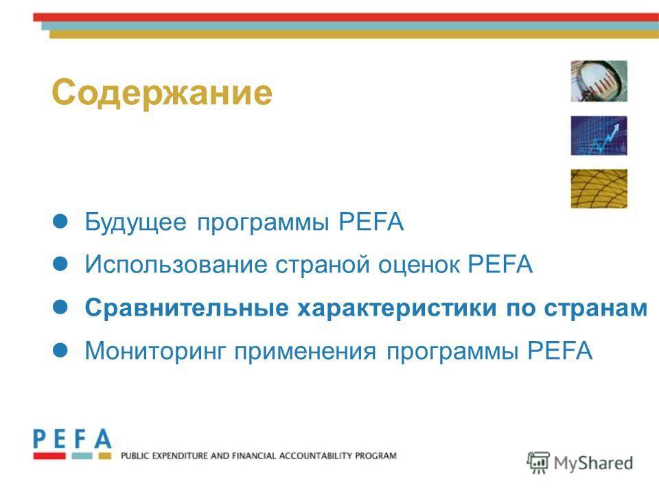 12 Будущее программы PEFA Использование страной оценок PEFA Сравнительные характеристики по странам Мониторинг применения программы PEFA Содержание