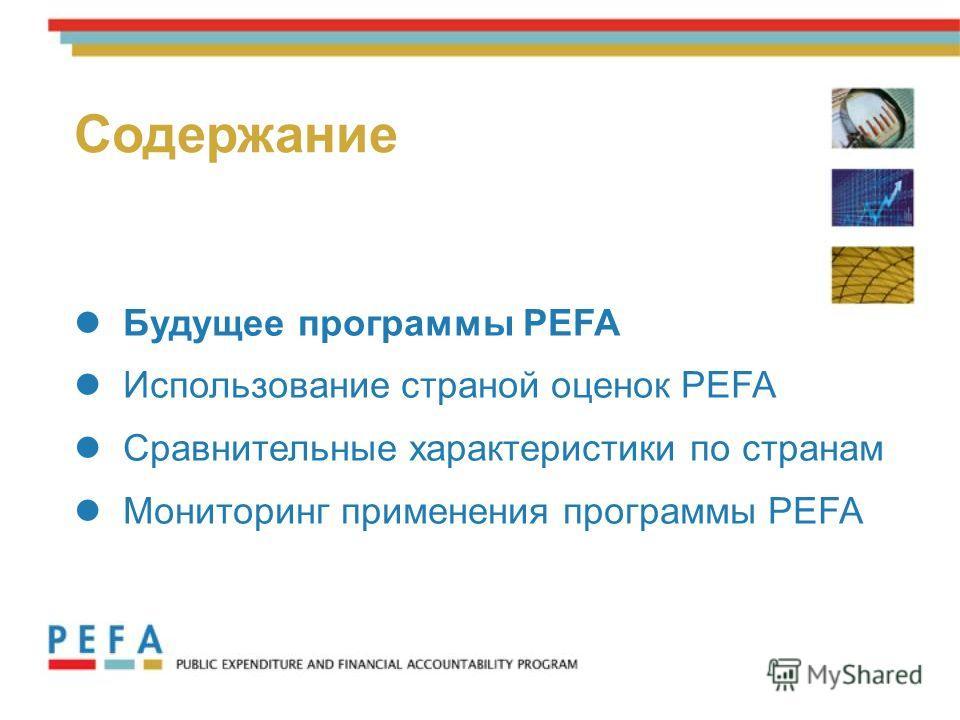 3 Будущее программы PEFA Использование страной оценок PEFA Сравнительные характеристики по странам Мониторинг применения программы PEFA Содержание