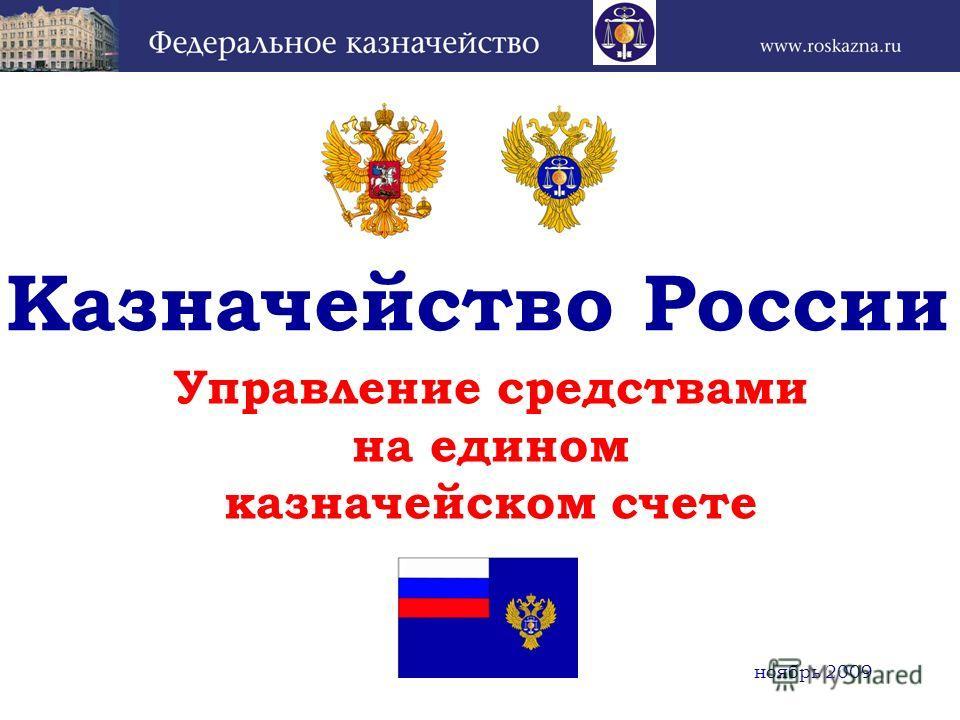 Управление средствами на едином казначейском счете Казначейство России ноябрь 2009
