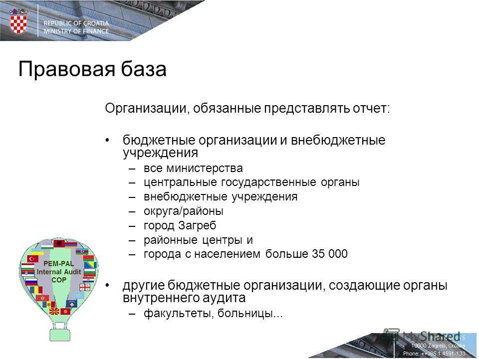 Правовая база Организации, обязанные представлять отчет: бюджетные организации и внебюджетные учреждения –все министерства –центральные государственные органы –внебюджетные учреждения –округа/районы –город Загреб –районные центры и –города с населени