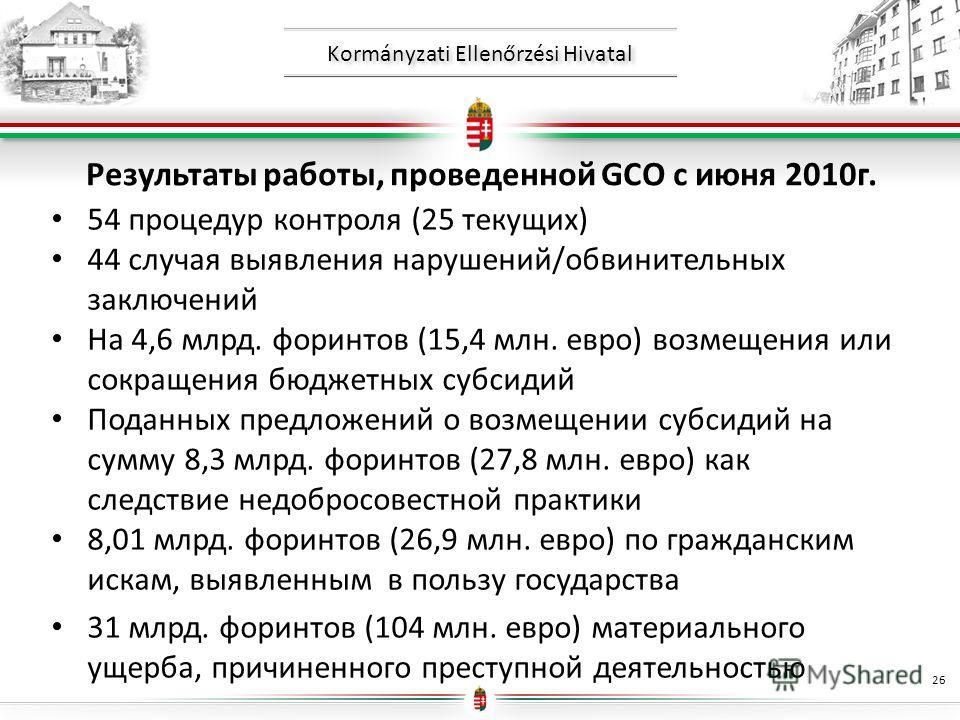 Kormányzati Ellenőrzési Hivatal Результаты работы, проведенной GCO с июня 2010г. 54 процедур контроля (25 текущих) 44 случая выявления нарушений/обвинительных заключений На 4,6 млрд. форинтов (15,4 млн. евро) возмещения или сокращения бюджетных субси