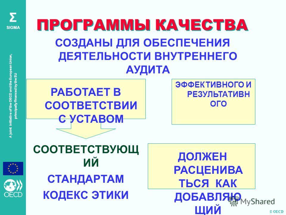 © OECD A joint initiative of the OECD and the European Union, principally financed by the EU Σ SIGMA ПРОГРАММЫ КАЧЕСТВА СОЗДАНЫ ДЛЯ ОБЕСПЕЧЕНИЯ ДЕЯТЕЛЬНОСТИ ВНУТРЕННЕГО АУДИТА ЭФФЕКТИВНОГО И РЕЗУЛЬТАТИВН ОГО ДОЛЖЕН РАСЦЕНИВА ТЬСЯ КАК ДОБАВЛЯЮ ЩИЙ ЦЕН