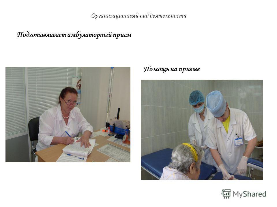Организационный вид деятельности Подготавливает амбулаторный прием Помощь на приеме