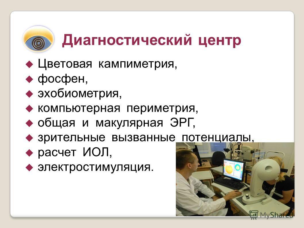 Диагностический центр Цветовая кампиметрия, фосфен, эхобиометрия, компьютерная периметрия, общая и макулярная ЭРГ, зрительные вызванные потенциалы, расчет ИОЛ, электростимуляция.