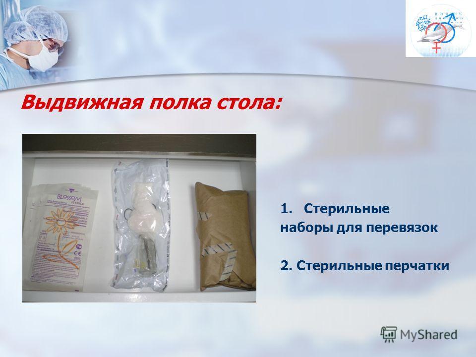 Выдвижная полка стола: 1.Стерильные наборы для перевязок 2. Стерильные перчатки